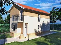 Structura metalica din tabla de otel zincat pentru Casa-pe-teren-ingust-8002