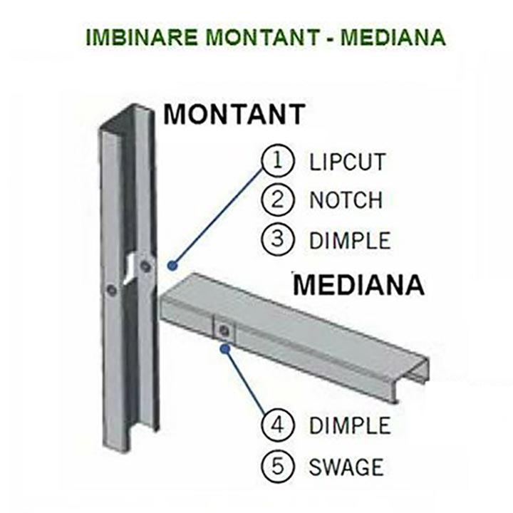 Detaliu structuri metalice imbinare montant mediana