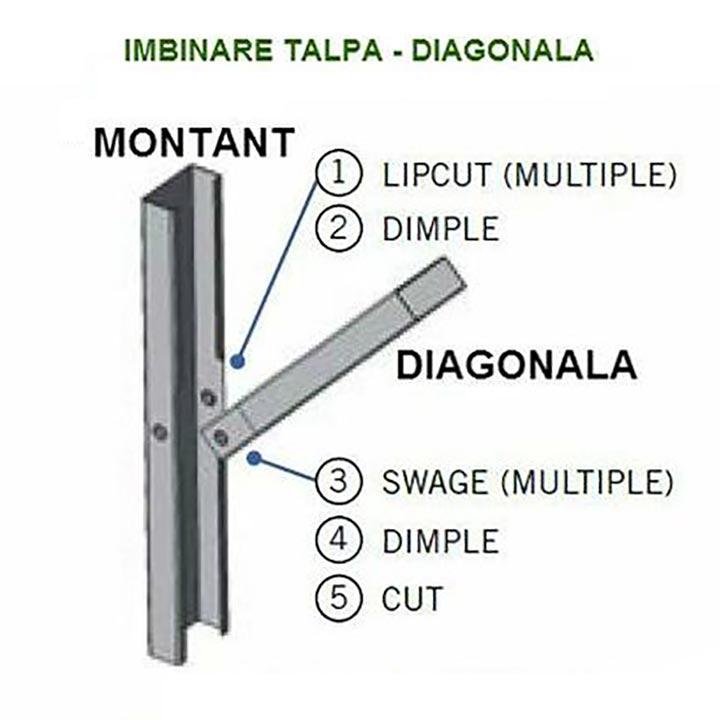 Detaliu structura metalica imbinare talpa diagonala